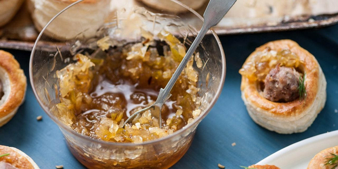 Onion and marmalade chutney, mildly spiced with fennel seeds